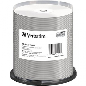VERBATIM CD-R DataLifePlus 700 MB, 52×, thermal printable, spindle 100 ks (43718)